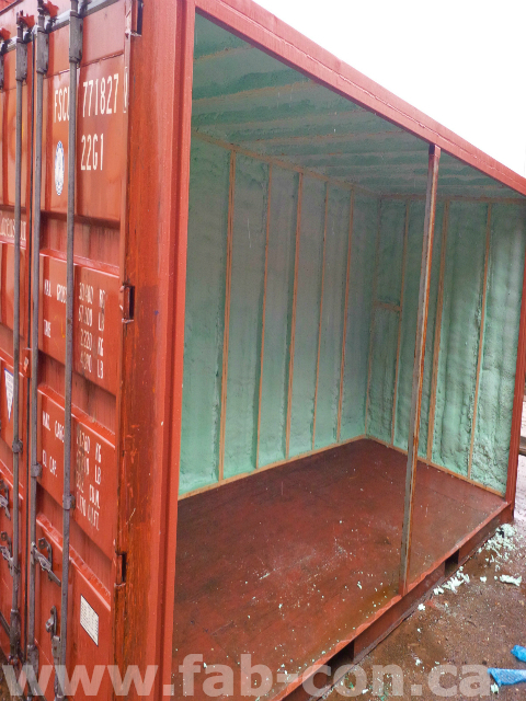 Fab-Con Container 20ft unit being insulated with sprayfoam insulation 1
