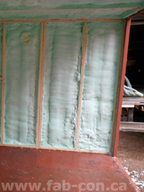 Fab-Con Container 20ft unit being insulated with sprayfoam insulation 2