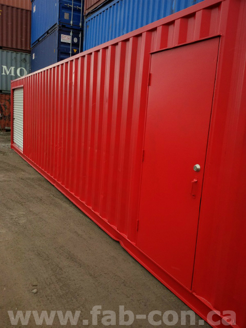 Fab-Con Container 40ft custom painted with man door and roll up door 1